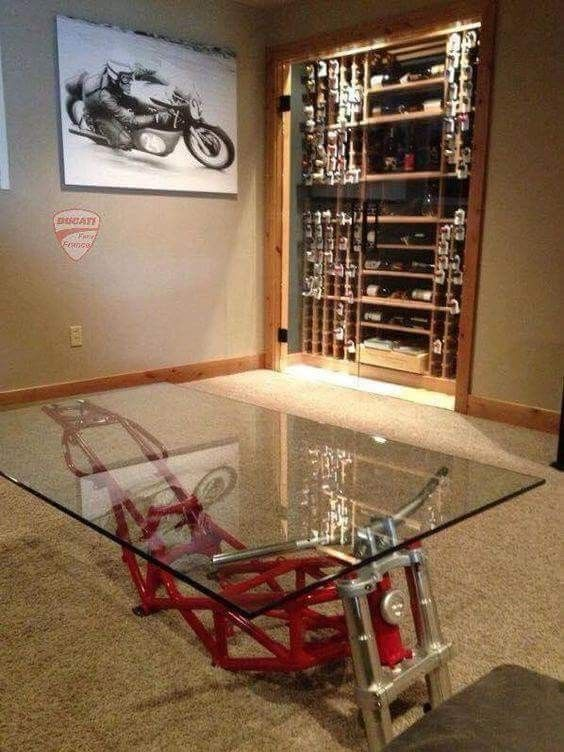 Motorcycle Table Man Cave Furniture Automotive Furniture Automotive Decor