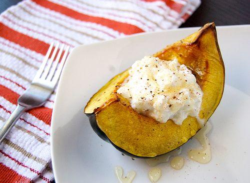Roasted Acorn Squash With Ricotta And Honey Recipe Food
