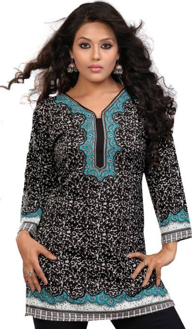 Details about  /Womens Floral Printed Kurta 3//4 Sleeve Fashion Long Tunic Ladies Cotton Top