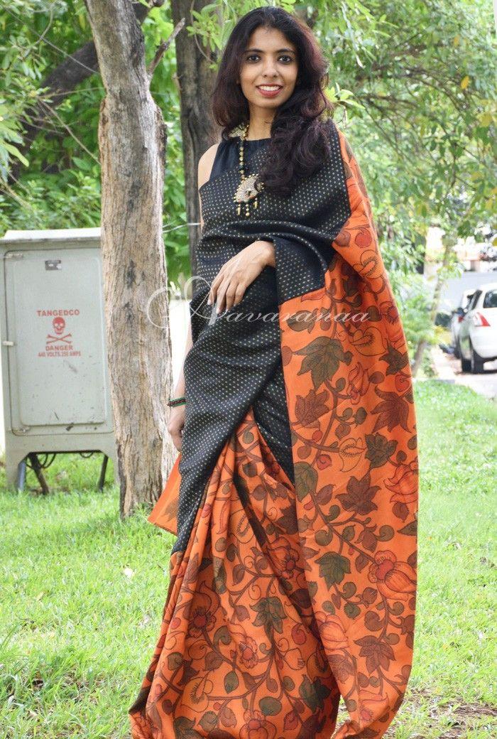 d605eaed70932 Black   Orange kalamkari silk saree in 2019
