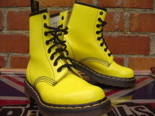 Dr-Martens-Sunshine-Yellow-Patent-1460-boots-UK-3-Martins-Punk-Grunge-worn-once