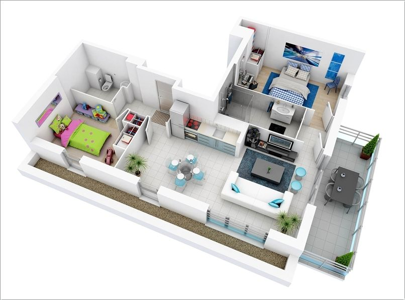 10 Awesome Two Bedroom Apartment 3d Floor Plans 3d House Plans Floor Plan Design House Plans With Pictures