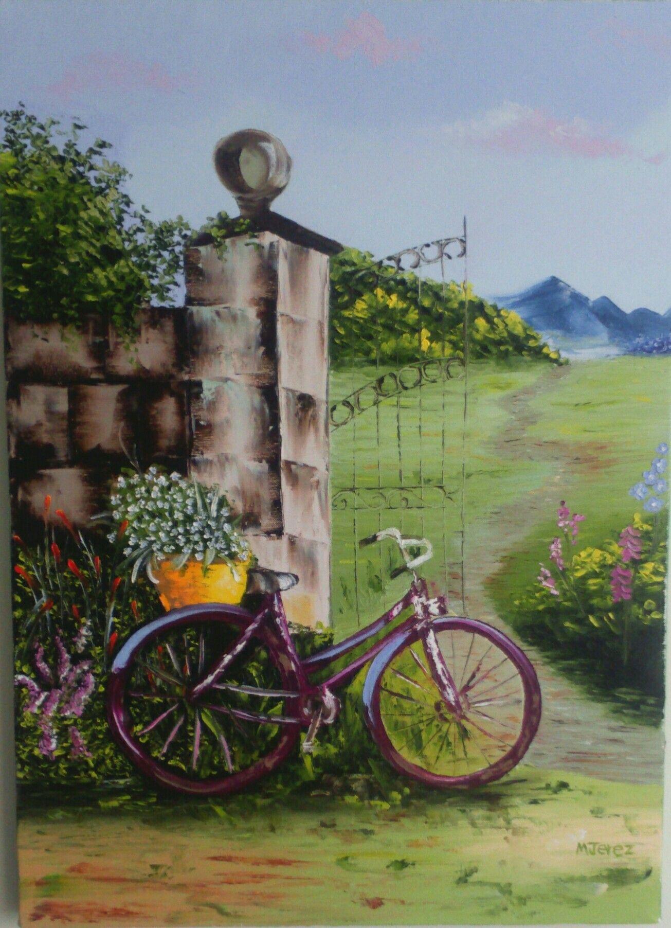 Bicicleta. Pintura al oleo con espatula   Pintura al oleo con ...