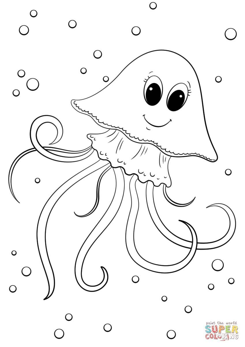 16 Coloring Page Jellyfish Fish Coloring Page Animal Coloring Pages Shark Coloring Pages