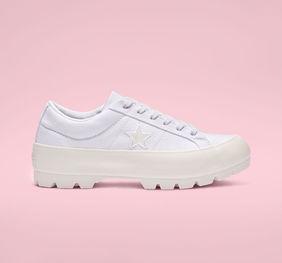 One Star Lugged Platform Low Top White
