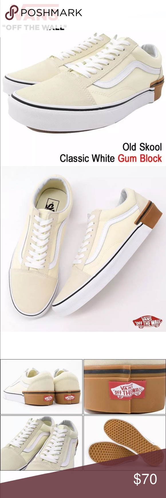 29ecc4395a Vans Men s Old Skool Classic White Gum Block NEW AUTHENTIC Vans Old Skool  Skate Shoes SIZE MEN S 12 COLOR  GUM BLOCK CLASSIC WHITE Timeless Skate  Style A ...