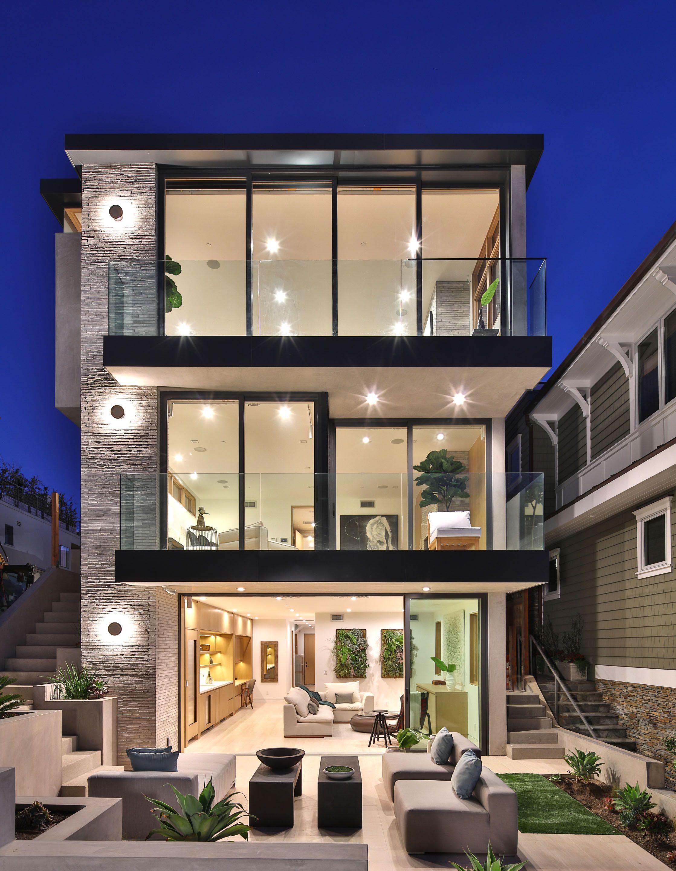 Beachfront Luxury Modern Home Exterior At Night Luxury Modern