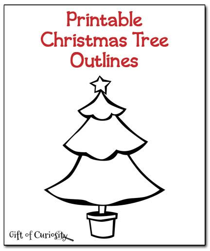 christmas tree outlines christmas printable