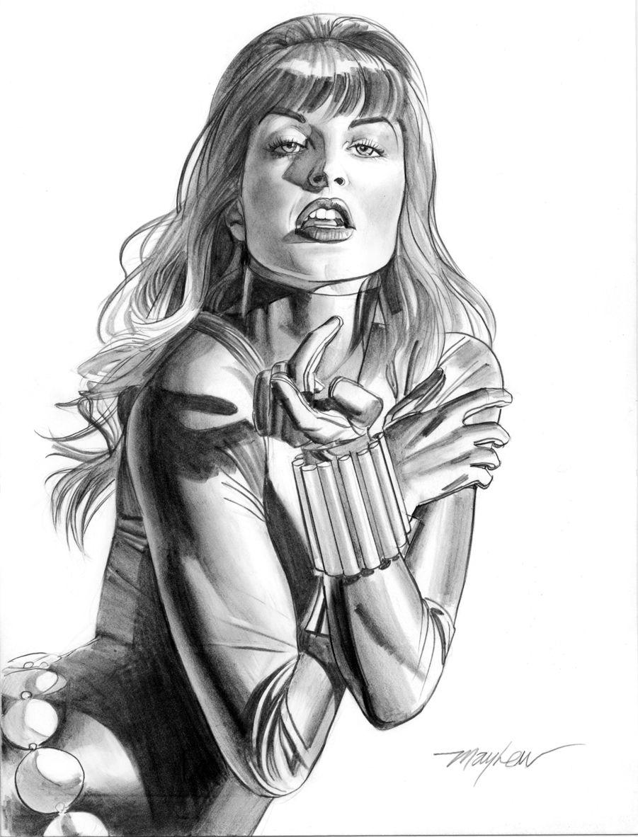 mike mayhew original black widow pencil commission comic