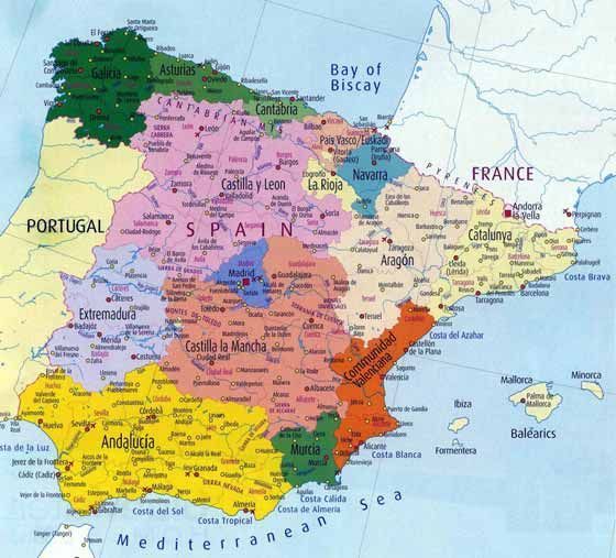 Detailed map Spain The Story of the Renaissance and Reformation