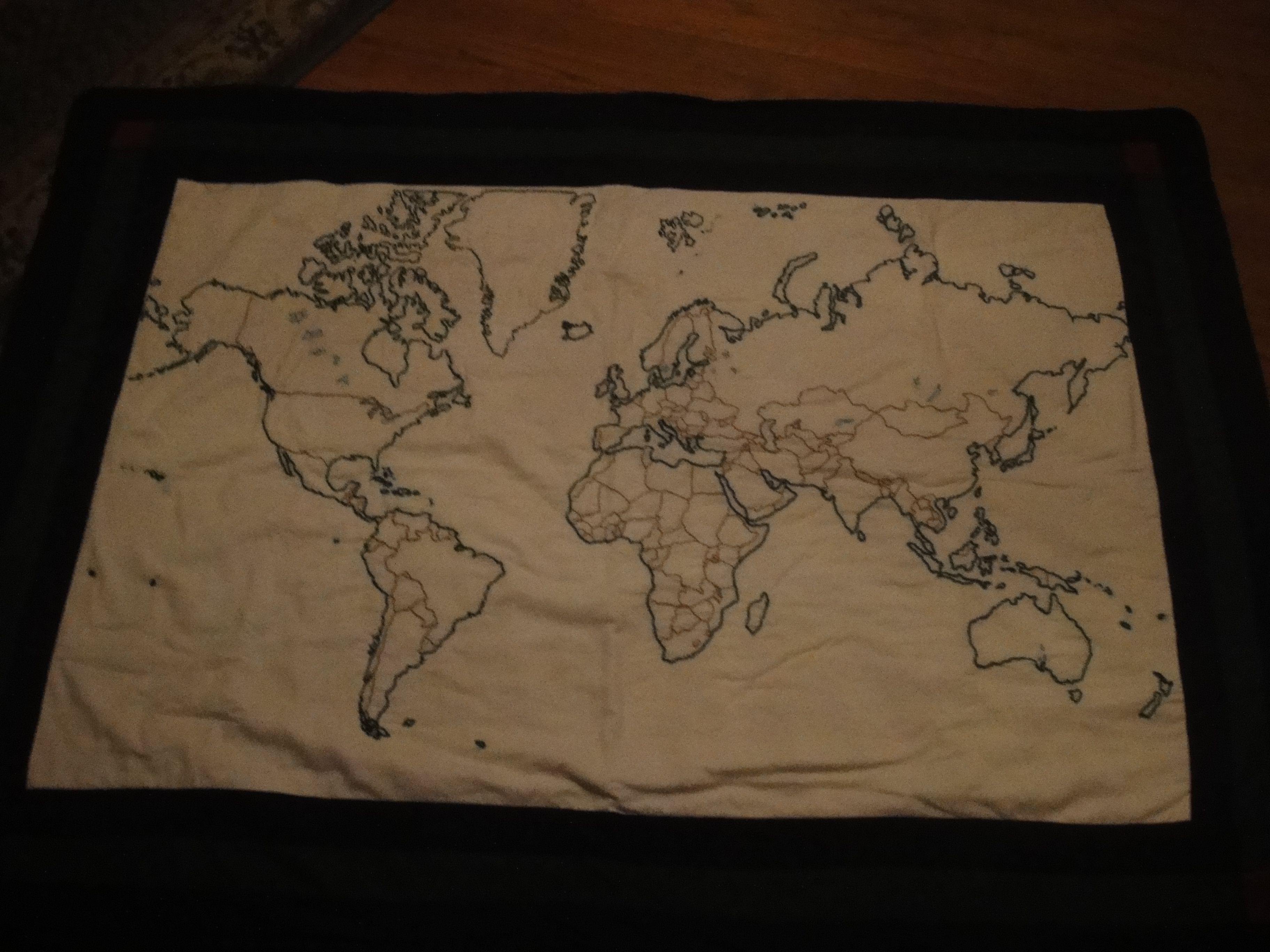 Hand embroidered world map made into a quilt i bought fish deer hand embroidered world map made into a quilt i bought fish deer ducks gumiabroncs Image collections