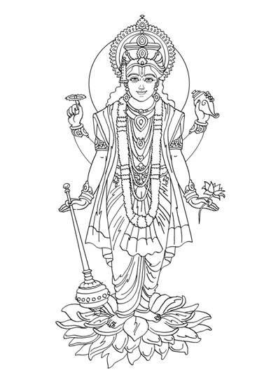 Image002 Jpg 387 549 Outline Drawings Hindu Gods