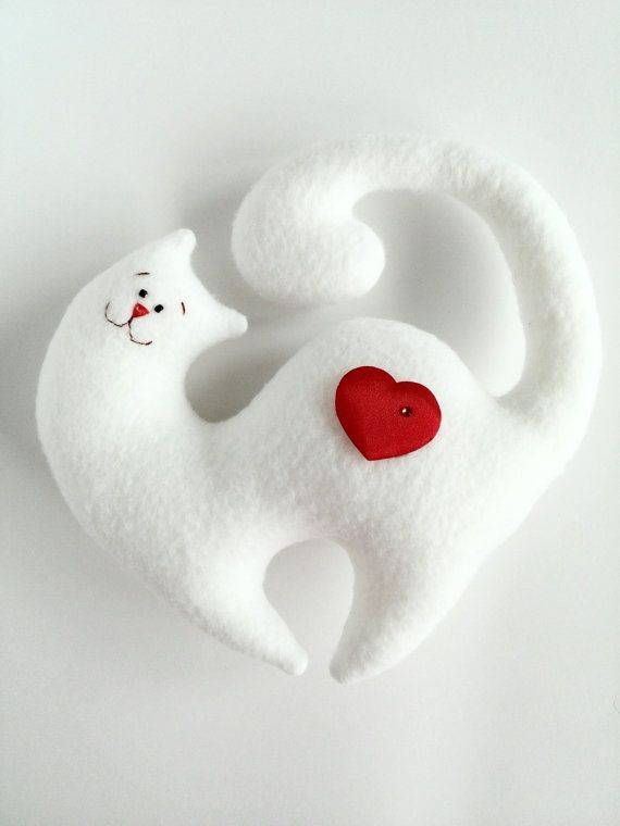 Items similar to Cat lover gift Valentine's Day gift I Love You Plush Toys Cats Red heart Valentine's toys Stuffed Animals Plush cat Personalized toys on Etsy