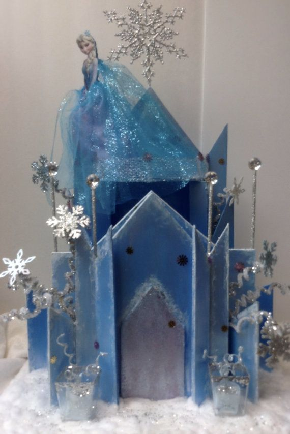 this frozen ice blue castle centerpiece it is made with a lot of detail - Blue Castle Decor