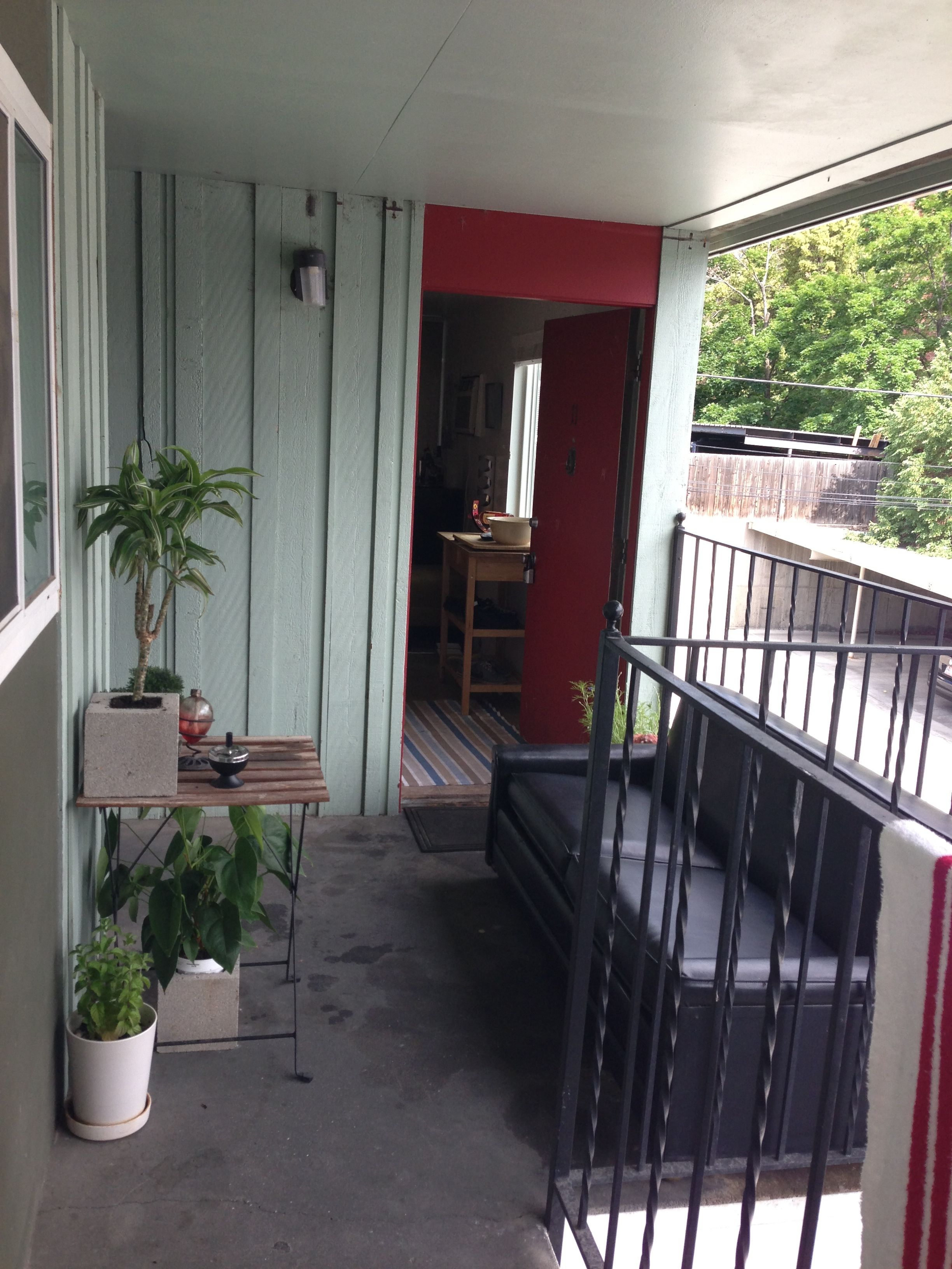 Improvised patio on an apartment complex Apartment