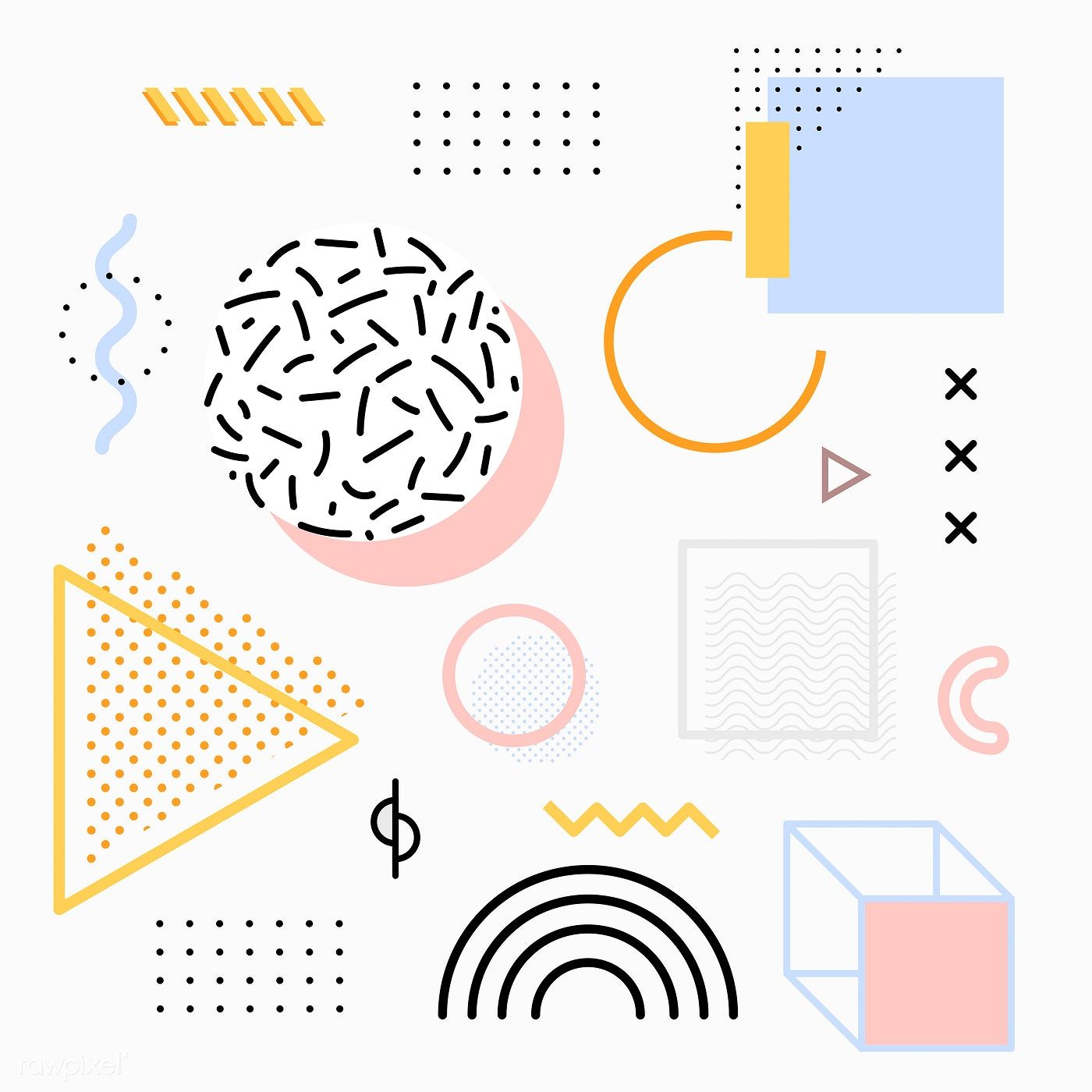 Download premium vector of Pastel Memphis design resource pack vector