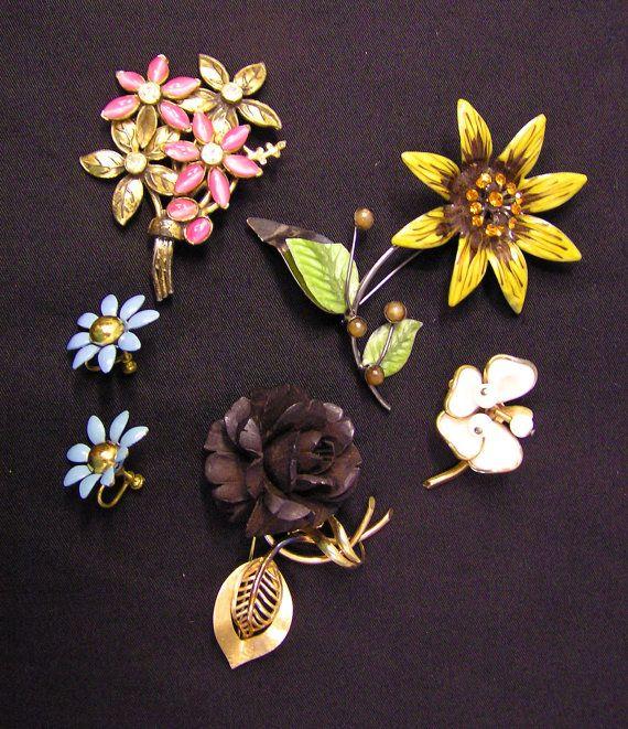 Vintage Floral Flower Brooch, Pins, Earrings Costume Jewelry Rose Daisy Sunflower Impatiens by Mermeow Treasures, $50.00