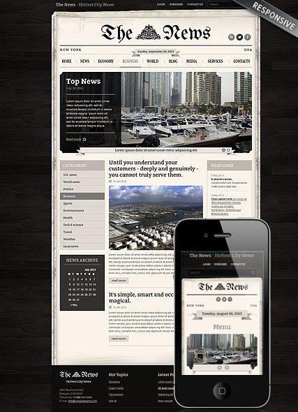 Newspaper Website Template Website Templates Pinterest
