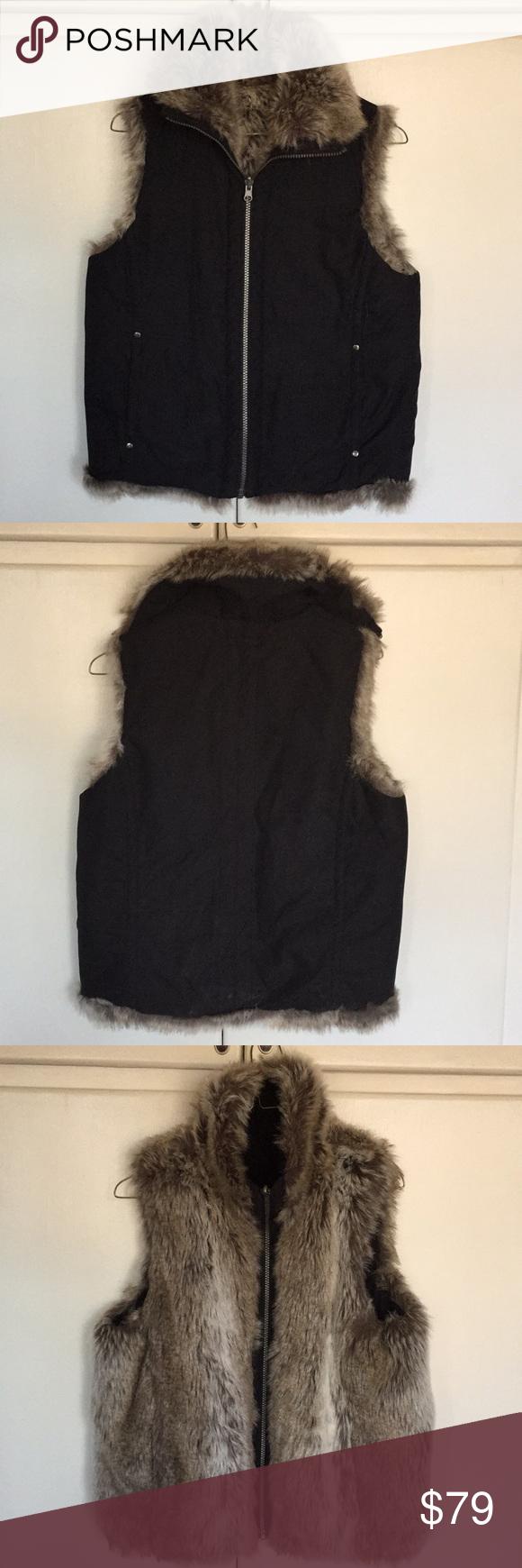 Weatherproof Reversible Faux Fur Vest NWOT Weatherproof reversible faux fur/ micro suede zippered vest Weatherproof Jackets & Coats Vests