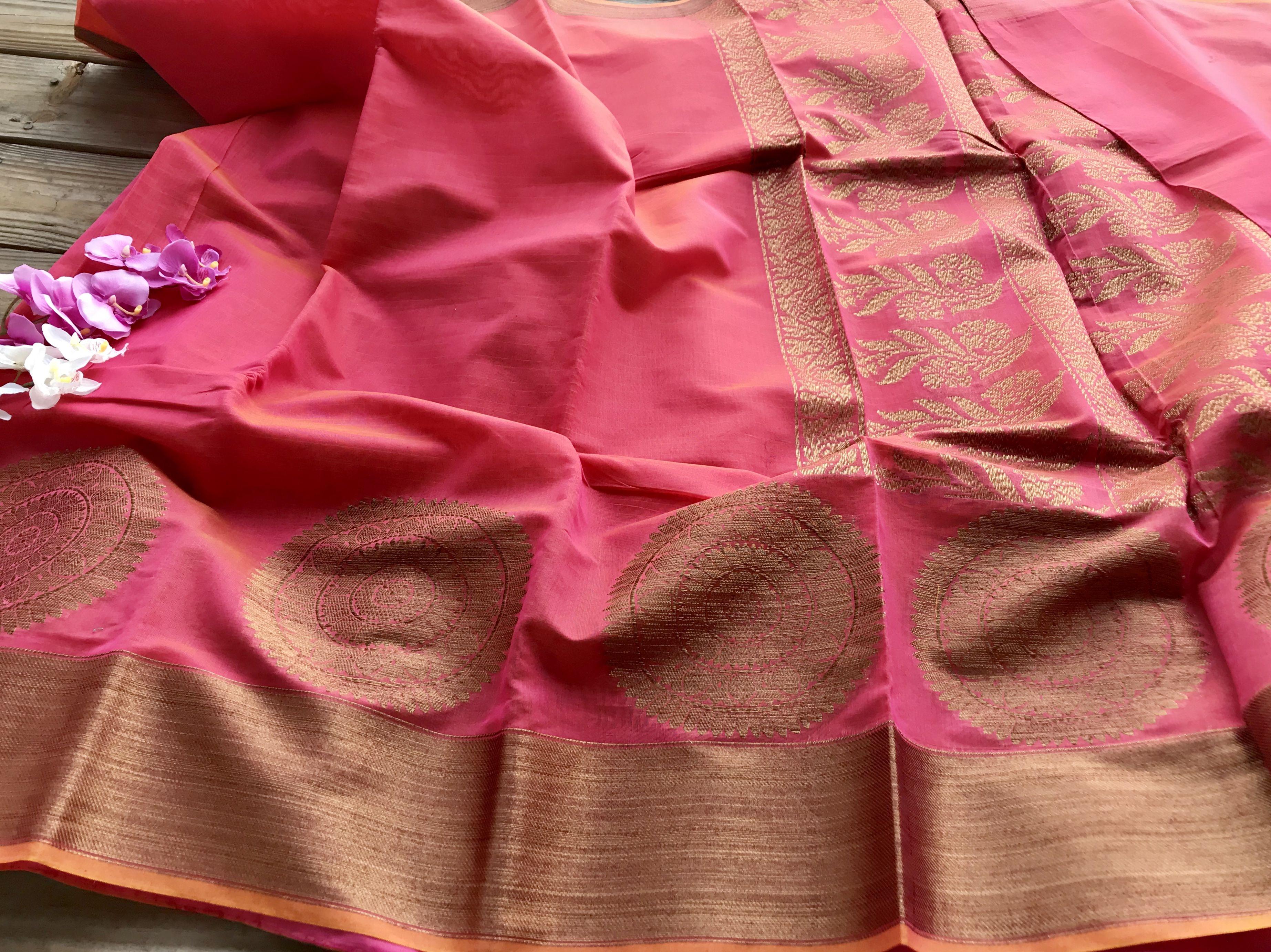 Pure Chanderi Cotton Banarasi Saree in Peach and Gold