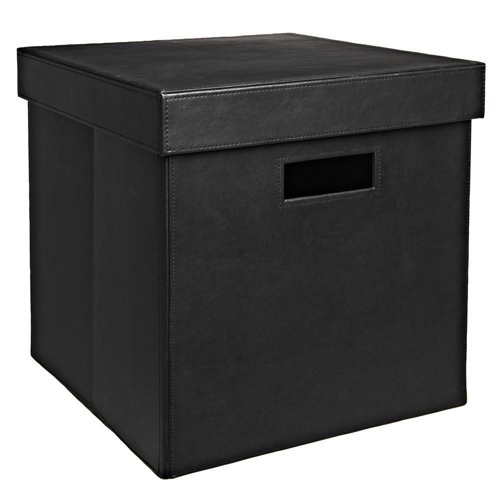 Wilko Faux Leather Storage Box Black Medium  sc 1 st  Pinterest : faux storage box  - Aquiesqueretaro.Com