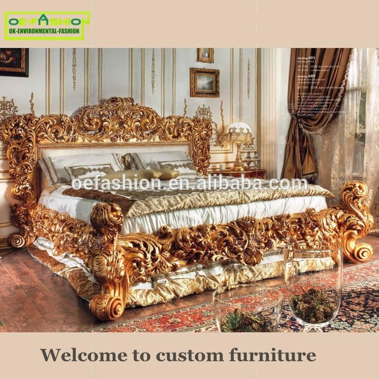 Luxury Dubai Carving Design Wooden Home Furniture Double Bed View