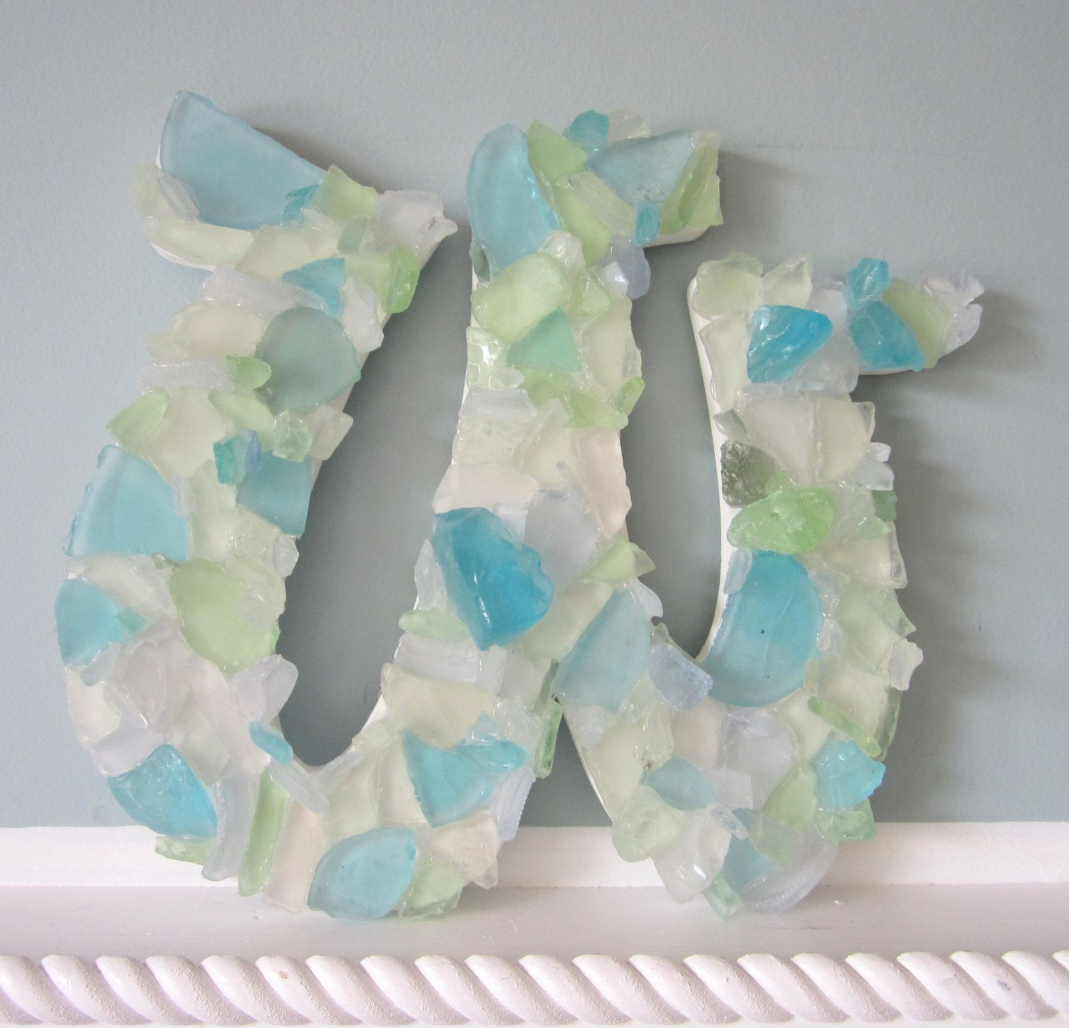 Glass Letters For Wall Nautical Decor Wall Letters  Sea Glass  Beach Decor Glass
