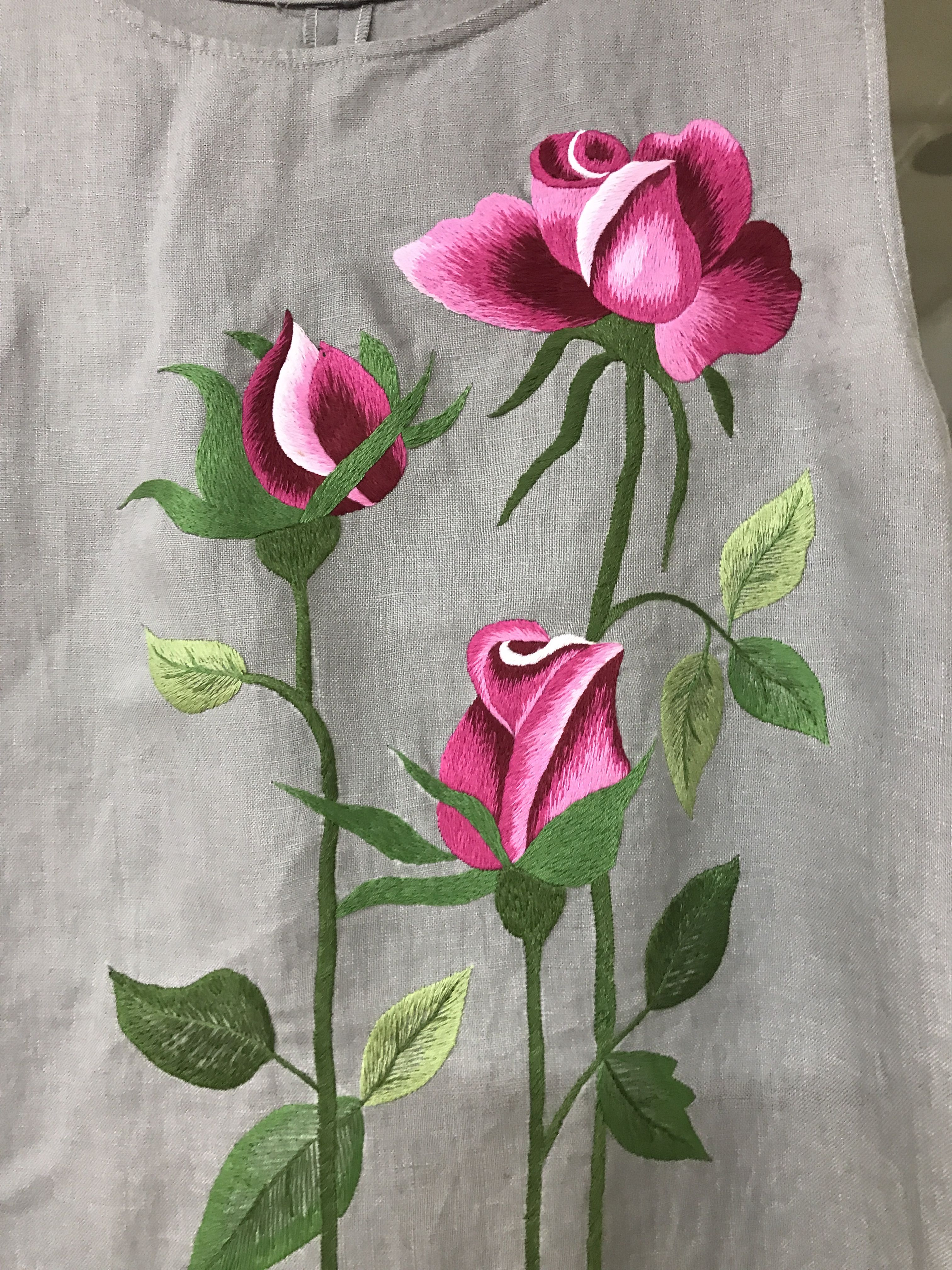 Precioso Bordado نقاشی روی لباس Pinterest Embroidery Fabric