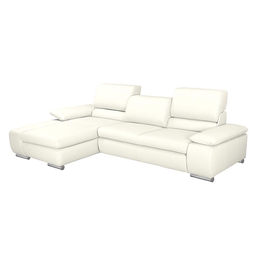 ecksofa masca ii echtleder longchair ottomane davorstehend links mit schlaffunktion wei. Black Bedroom Furniture Sets. Home Design Ideas