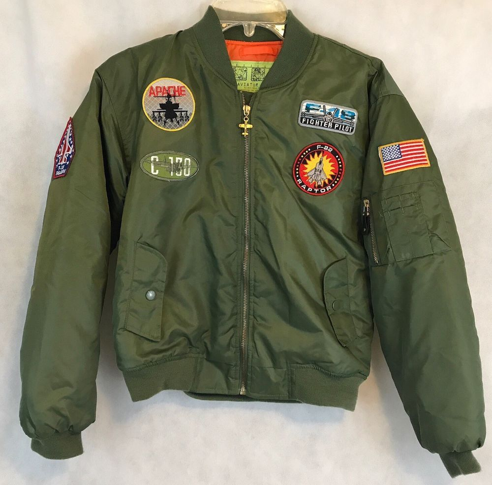 Boys Size 12 14 Green Aviator Jacket Military Style Patches Clothing Shoes Accessories Kids Clothing Shoes A Aviator Jackets Jackets Military Fashion [ 986 x 1000 Pixel ]