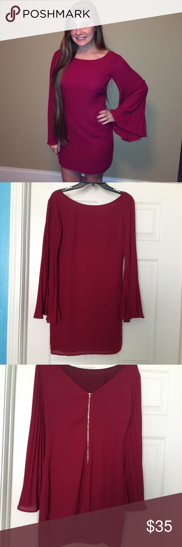 Gianni Bini Shift Dress Gorgeous burgundy wine colored shift dress by Gianni Bini. Features pleated long sleeves that flare at the end, an exposed golden zipper up the back, and lining underneath. Size XS. I only wore this on one occasion (when the photo was taken) and it is in very good condition. Great to wear to any formal events, weddings, graduations etc. Gianni Bini Dresses Long Sleeve