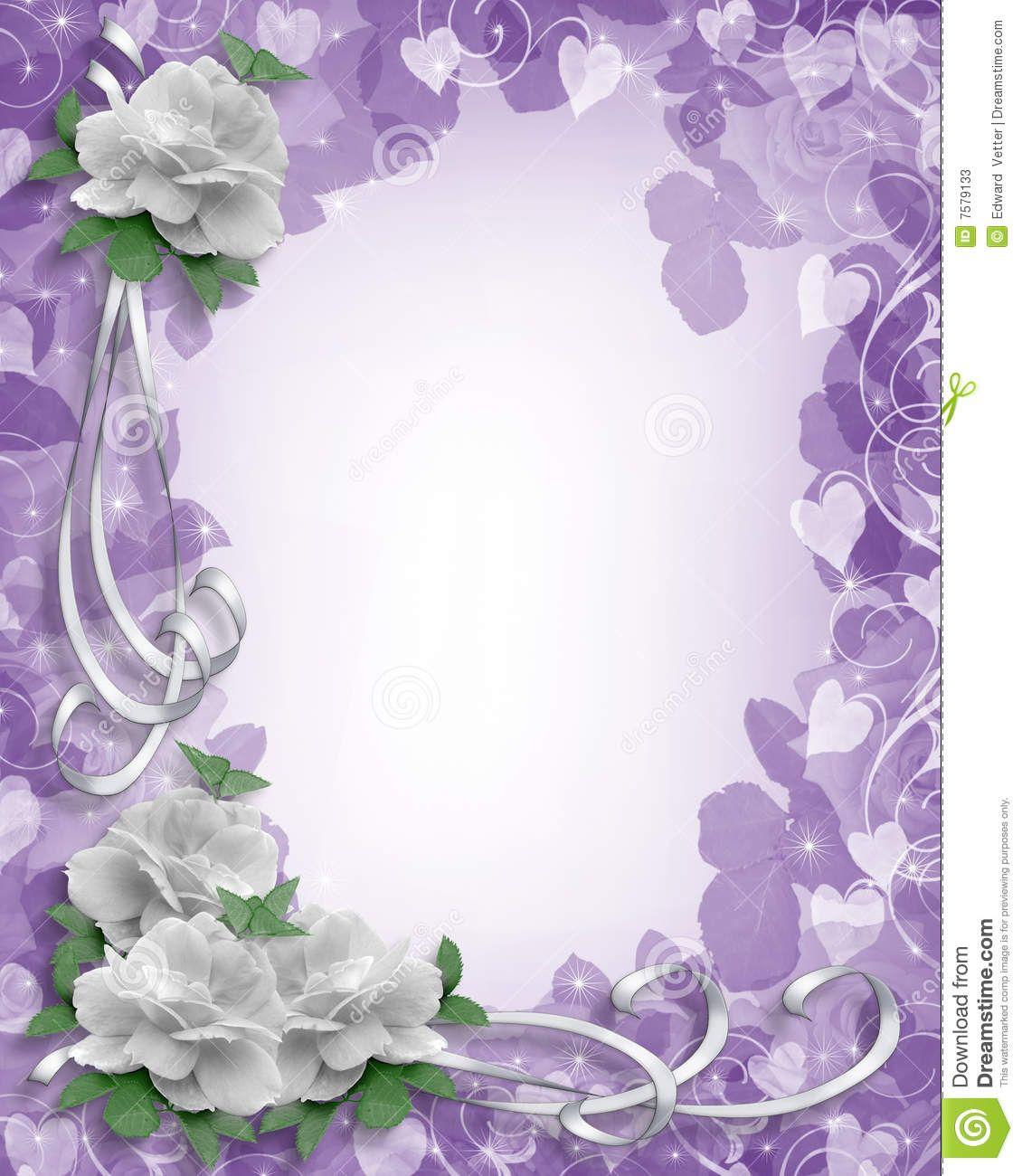 Wedding Border White Roses On Lavender