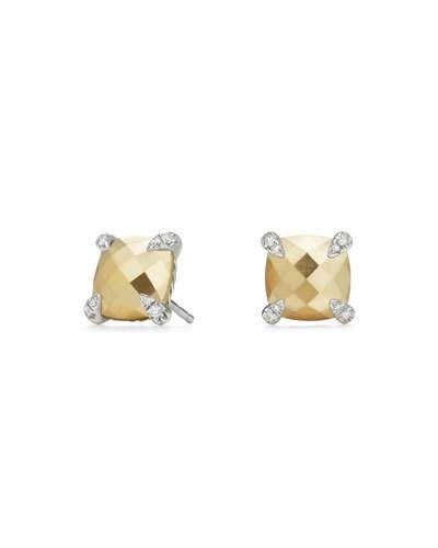 8e51e0f69 David Yurman Châtelaine 18K Faceted Gold Dome Stud Earrings with Diamonds