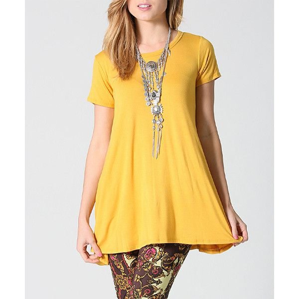 5dcae9cf35499 42POPS Mustard Swing Tunic ( 17) ❤ liked on Polyvore featuring plus size  women s fashion