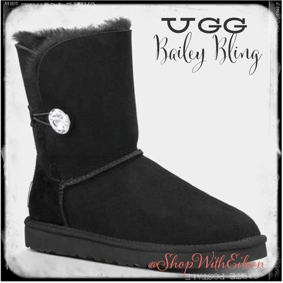 4e7dac76ff1 UGG Bailey Bling Black Womens Boots! UGG Bailey Bling Womens Boots in good  condition... The left boot soul is worn on the very corner just to tad and  the ...