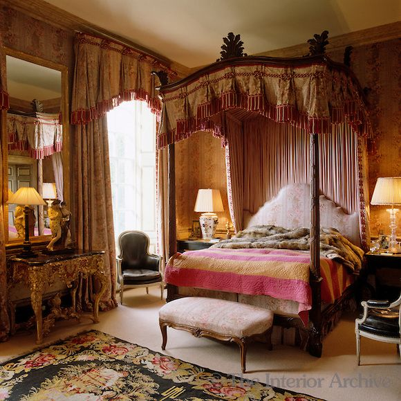 This Victorian four-poster bed is hung with red and white tasselled brown chintz ~ Thomas Kyle Jerome Murray & This Victorian four-poster bed is hung with red and white ...