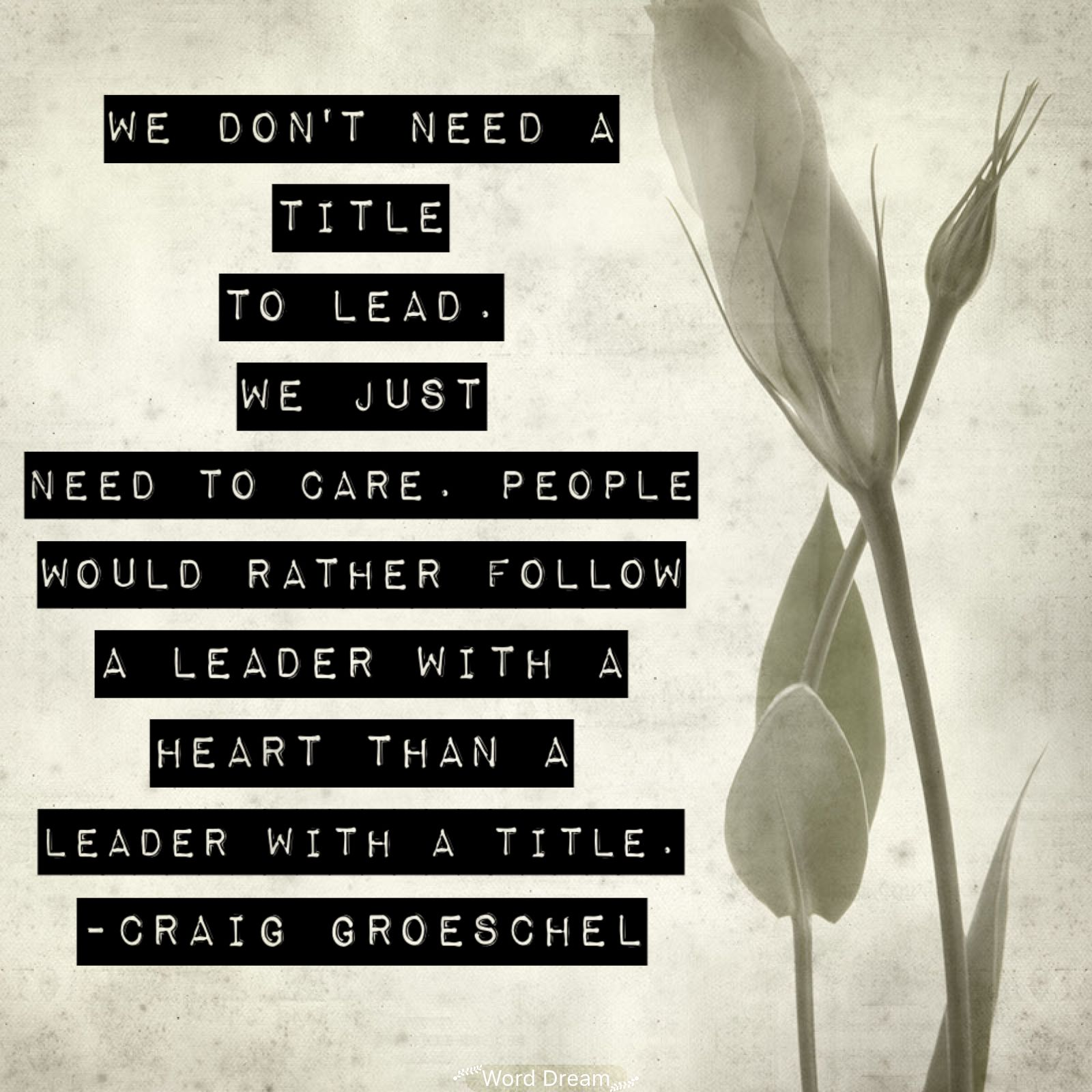 We Don T Need A Title To Lead We Just Need To Care People Would Rather Follow A Leader With A Heart Than A Lea Leadership Quotes Positive Thoughts Leadership