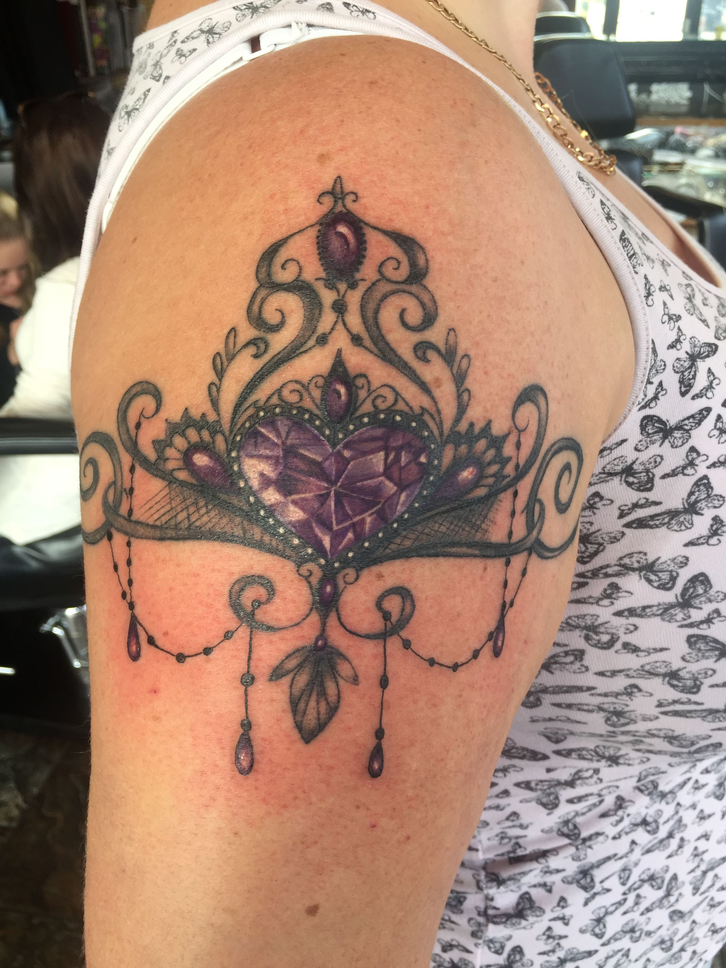 bbdd15394 Lace and gem tattoo … | my new tattoo | Gem t…