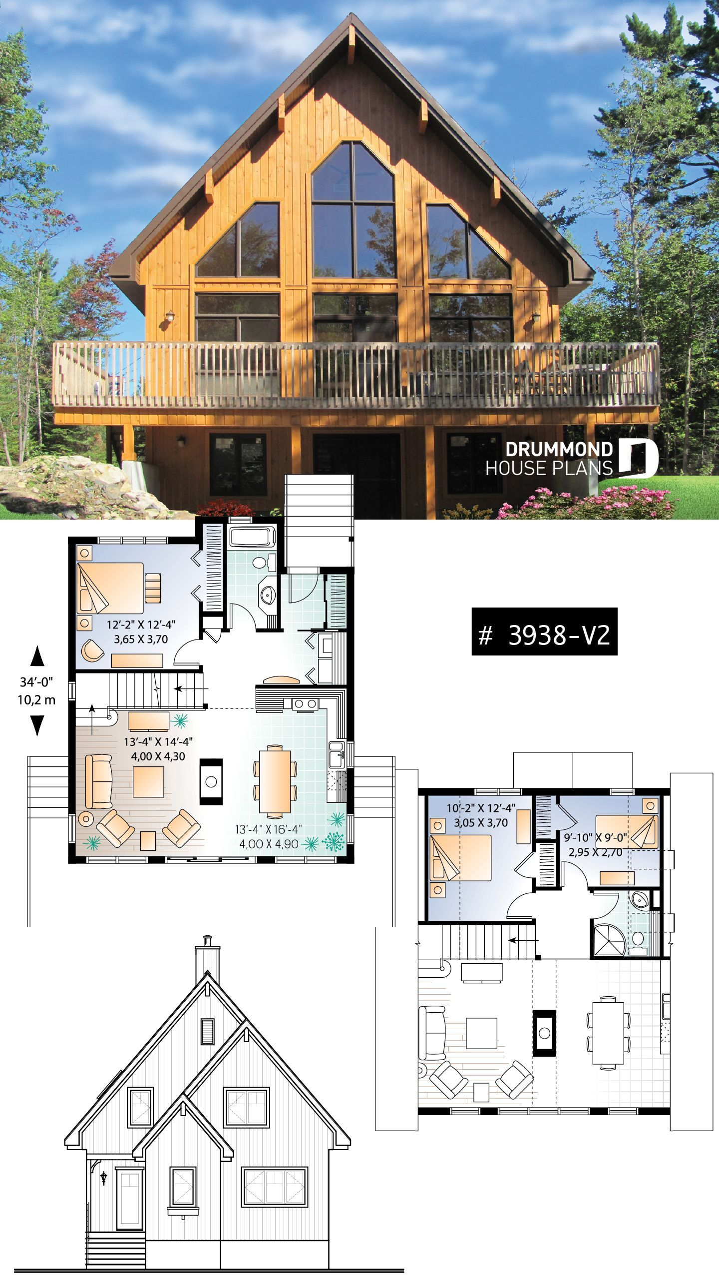 Three Bedroom Two Bathroom Rustic Chalet House Plan Cathedral Ceiling Mezzanine Open Floor Pla A Frame House Plans Mountain House Plans Cottage House Plans