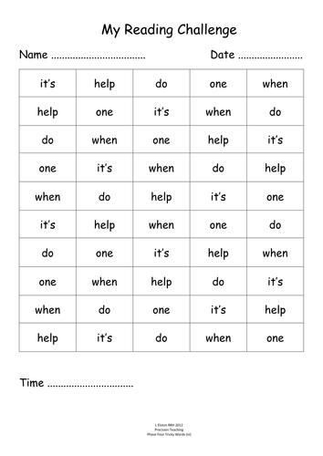 Phase 4 ~ Tricky Words Timed Challenge | letterland ...