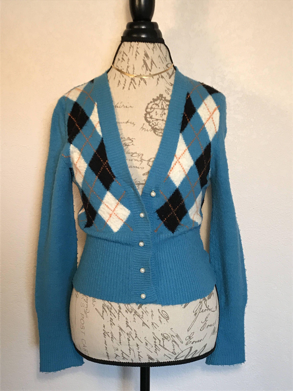 69a0e1360e Vintage Turquoise Argyle Sweater