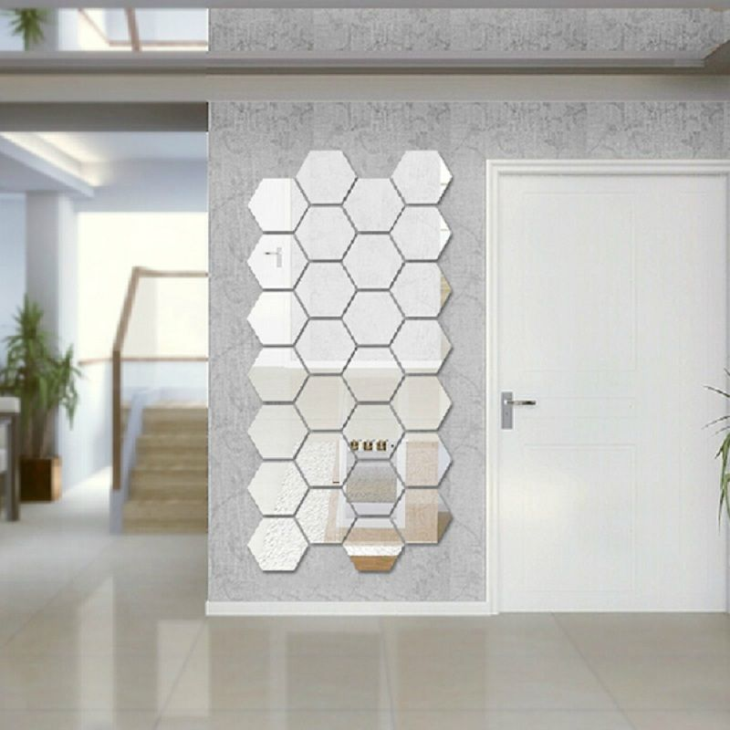 Rhinestone Wall Mirror modern creative 3d silver mirror geometric hexagon acrylic wall