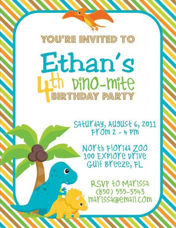 Dinosaur Birthday Party 5x7 Invitation