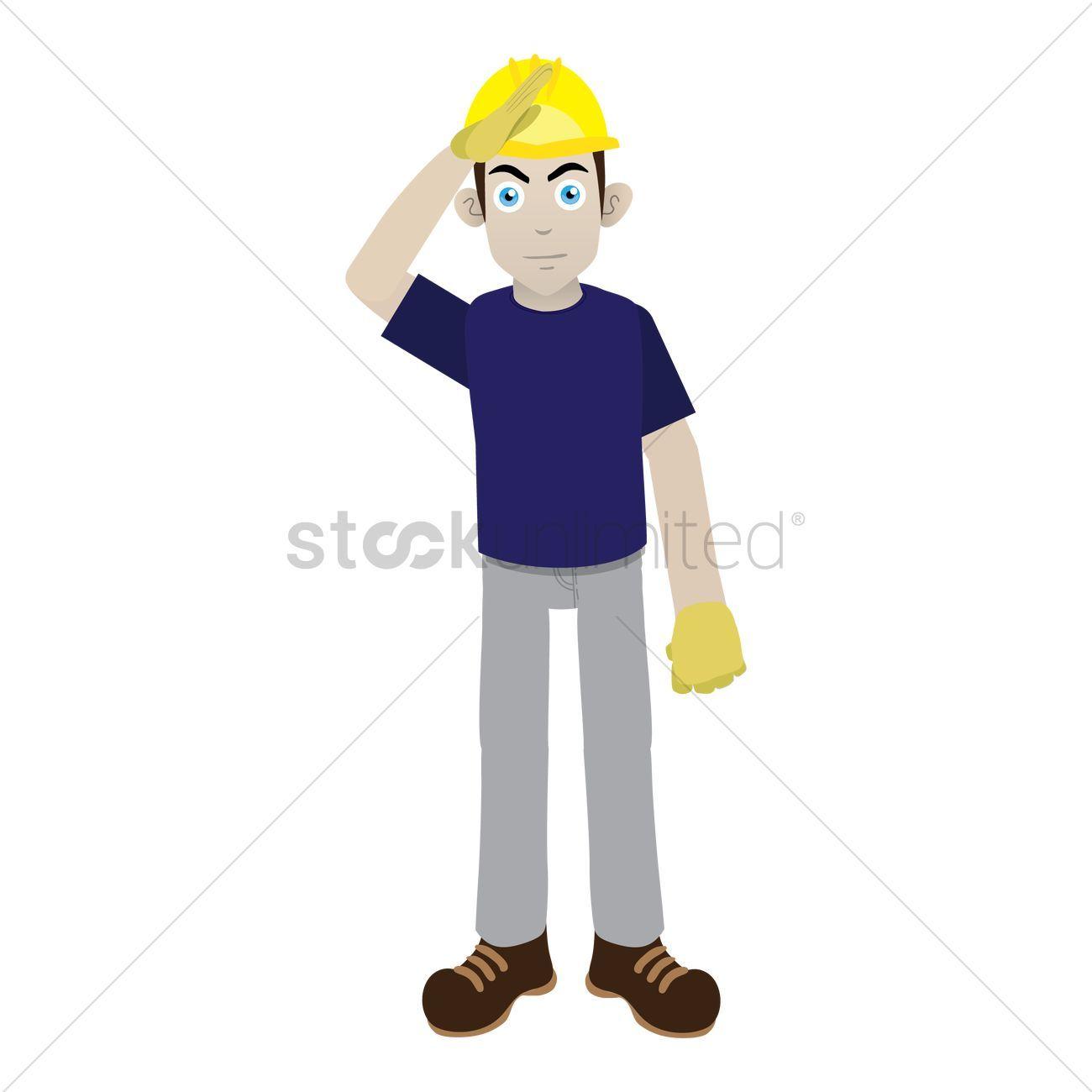 Construction Worker Saluting Vectors Stock Clipart Sponsored Saluting Worker Construction Clipart Stock Affiliate