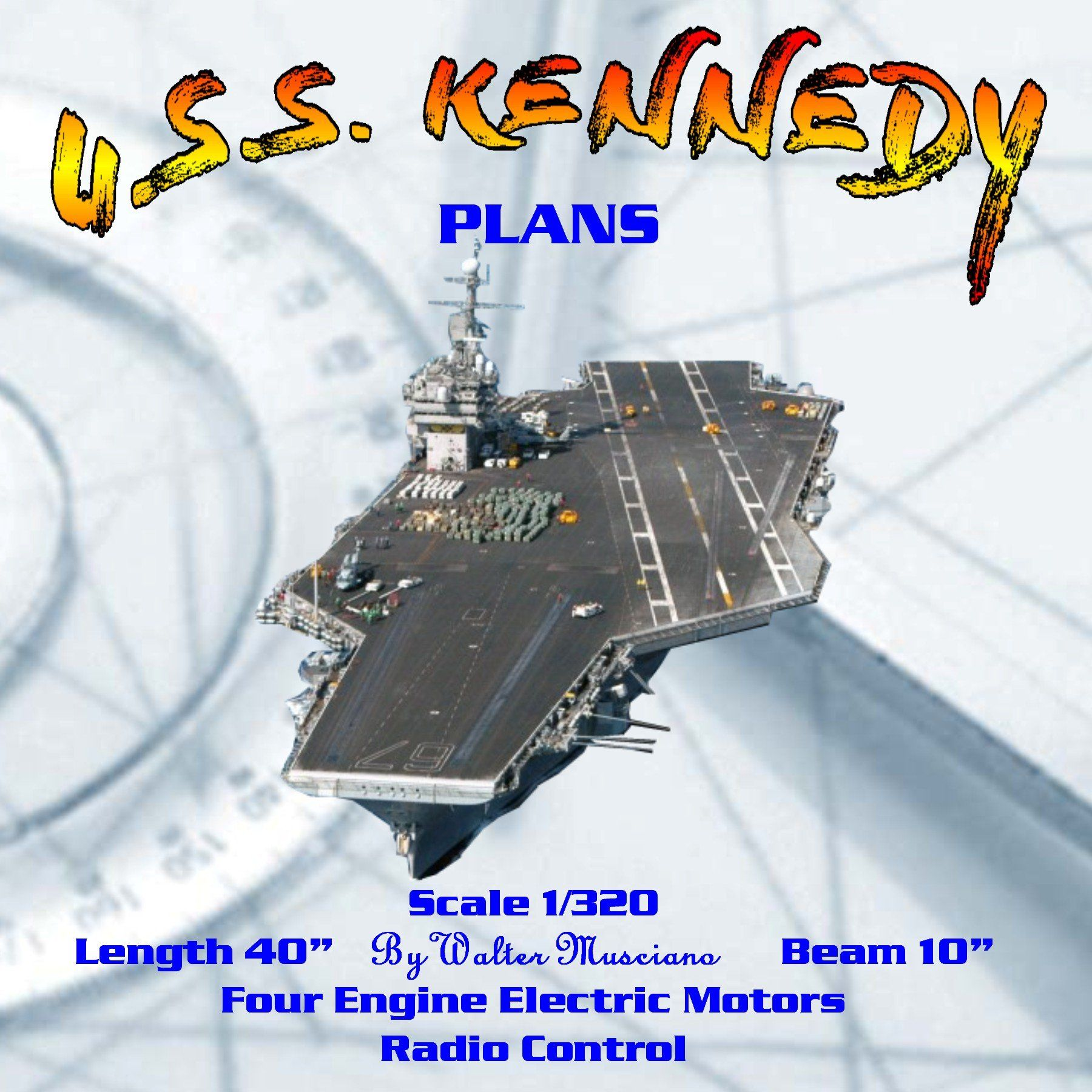 "listing is for Full Size Printed Plans and ArticleU.S.S. KENNEDY AIRCRAFT CARRIERScale 1/320Length 40""Beam 10""Four Engine Electric MotorsRadio ControlFull Size Printed Plan on Two SHEET 42"" x 30""Eight page article Building Notes, Photos (not all shown)By Walter Musciano Our model passes by at top speed. The four propellers provide plenty of realistic wake as they push the sleek hull through the water. Model runs at a speed comparable to that of a very fast walk. Hull is deep in the water like th"