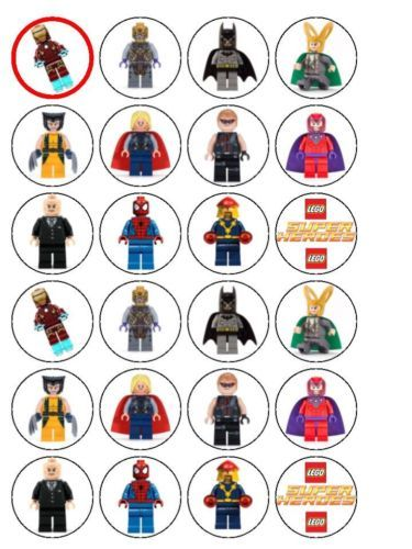 24 X Lego Super Heroes Edible Rice Wafer Paper CUP Cake BUN Toppers Superhero | eBay