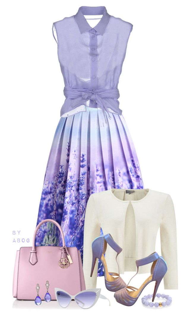 """""""Christian Louboutin Lilac and White Ronette Platform Sandals"""" by karen-of-abog ❤ liked on Polyvore featuring Chicwish, Phase Eight, Alberta Ferretti, L.K.Bennett, Christian Louboutin, Nest and Mykita"""