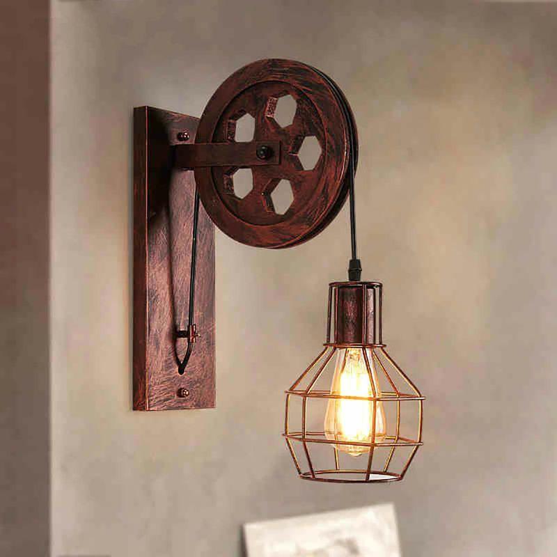 salon chambre /à coucher et couloir Ruixf Retro Industrielle M/étal Lampe murale Applique murale rustique Lampe murale pour loft Noir, Pas dampoule