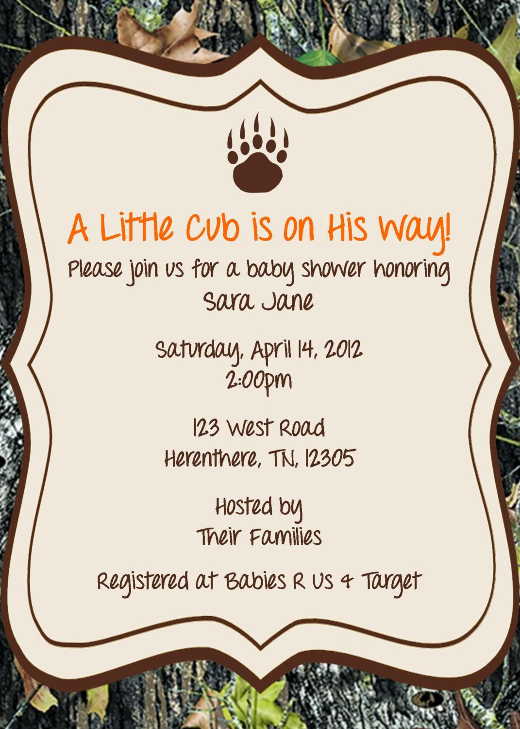 hunting themed baby shower | Hunting Invitations | Showers of ...