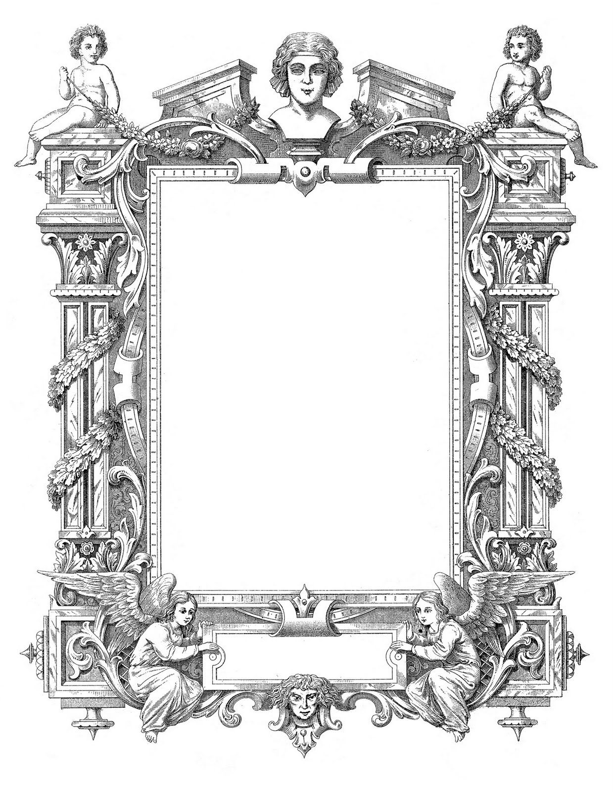 Spectacular Antique French Graphic Frame with Angels | FREE ✄ y ...